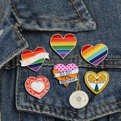 Heart Lapel Enamel Pins Arnold Comic Boy BIGGER HEART Brooches Pride LGBT Pins Badge Love Is Love Rainbow Jewelry For Women Men