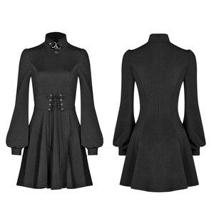 Image 5 - 펑크 레이브 여자의 고딕 타이 업 로프 아일렛 로프와 금속 장식 드레스 레트로 궁전 버블 슬리브 태양 진자 드레스