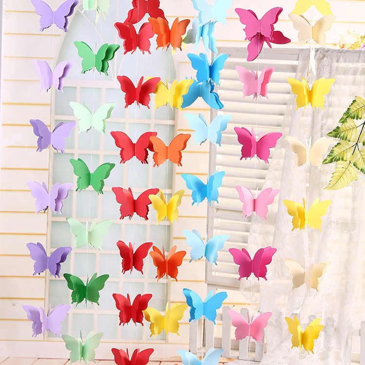 Rainbow Butterfly Hanging Garland Party Decoration 3D paper Butterfly Bunting Banner for Wedding Baby Shower Birthday Home Decor