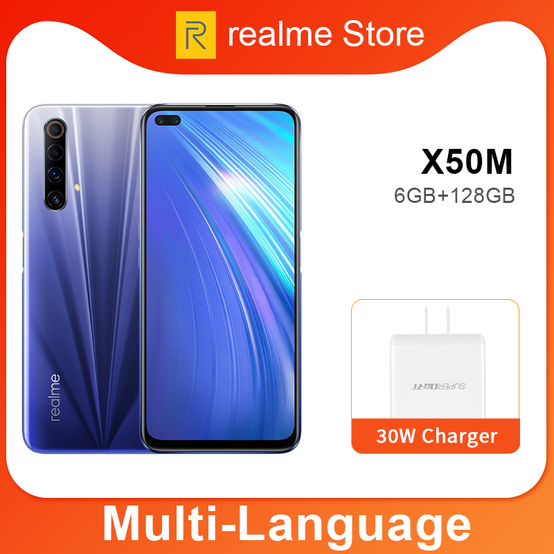 Realme X50m 6GB 128GB Moblie Phone Snapdragon 765G Octa Core 48MP Quad Camera Cellphone 30W Dart Charge Realme UI10.0 NFC