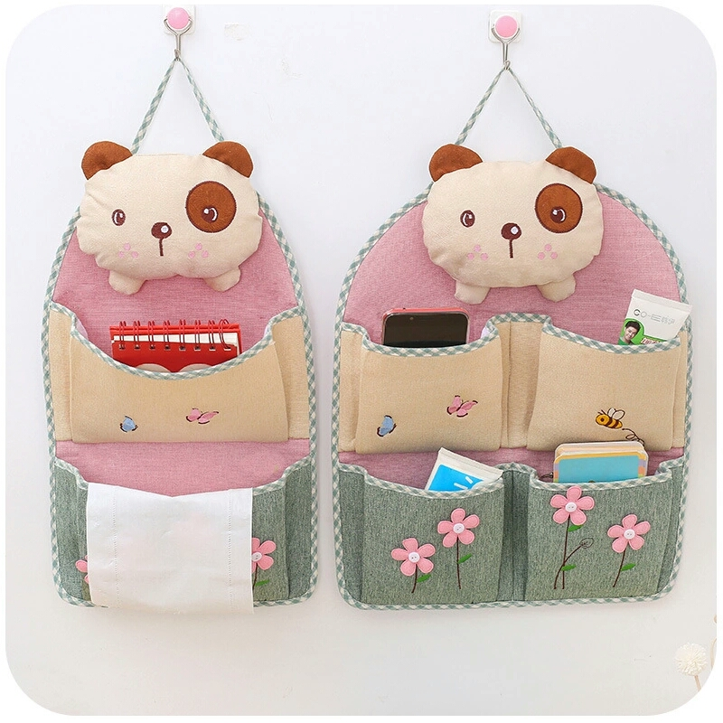 Multi-pocket Design Cute Bear Hanging Storage Bag Cotton Linen Sundries Organizer 1PC