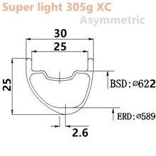 29er 315g Ultralight XC asymetryczne 30X25mm karbon mtb felgi bezdętkowe bezdętkowe górskie koło rowerowe mtb 29er węgla obręczy 29