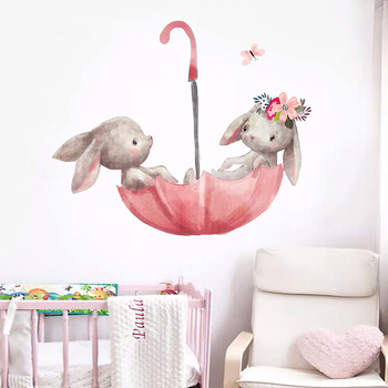 Cute Grey Bunny Ballet Rabbit Wall Stickers for Kids Room Cat Baby Nursery Decals Pink Flower Girl Home Decoration - discount item  40% OFF Home Decor