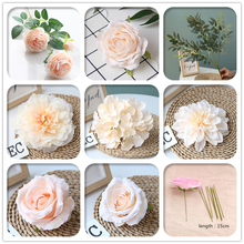 Champagne Color Artificial Flower Wedding Rose Peony Hydrangea Bridal Bouquet Wedding Decoration DIY Home Party Fake Flowers white color artificial flower wedding rose peony hydrangea plant bridal bouquet wedding decoration diy home party fake flowers