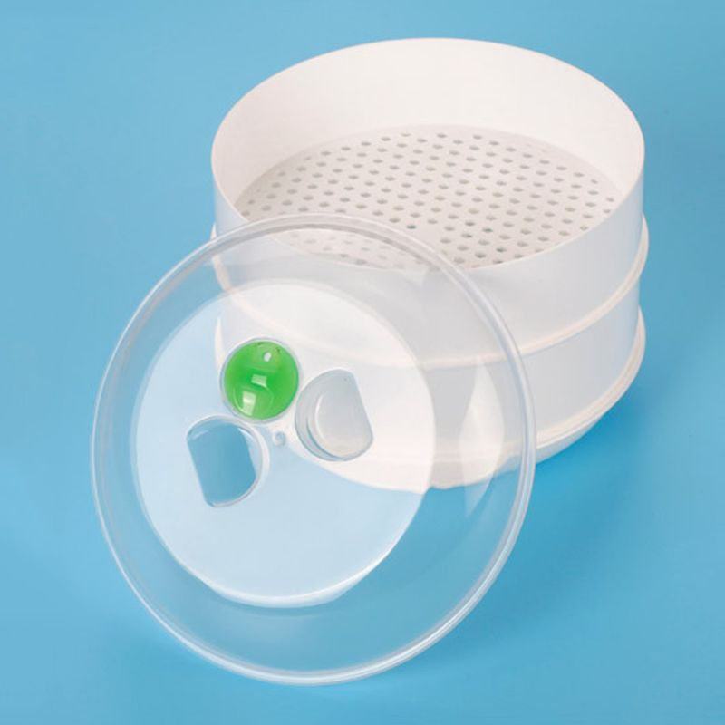 Double Plastic Steamer Microwave Oven Round Steamer