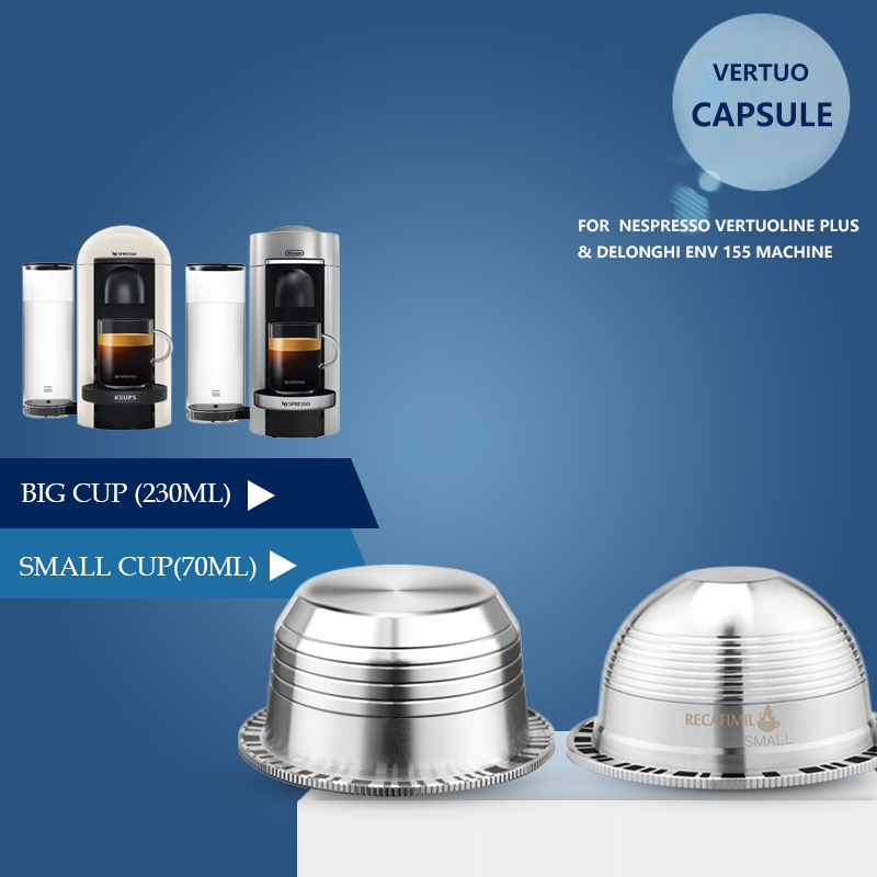 Capsule de Vertuoline réutilisable en acier inoxydable ICafilas pour expresso filtre à café Nespresso Vertuo pour Vertuo Plus & DL EVN 155
