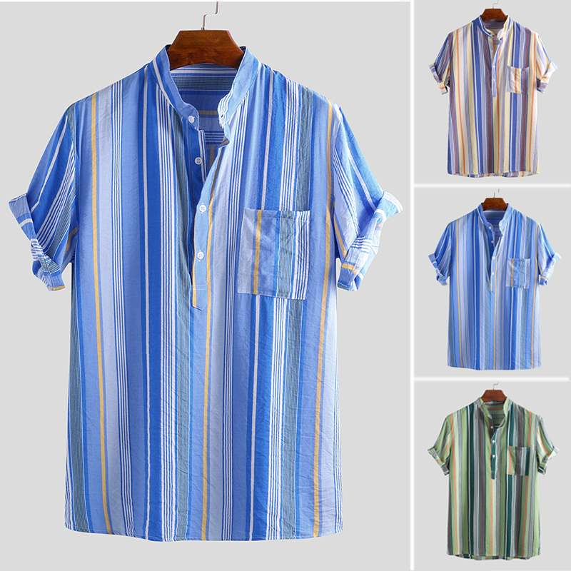Summer Brand Shirts Men Short Sleeve Multicolor Striped Button Stand Collar Vintage Men Henley Shirt Breathable Pullovers 2019