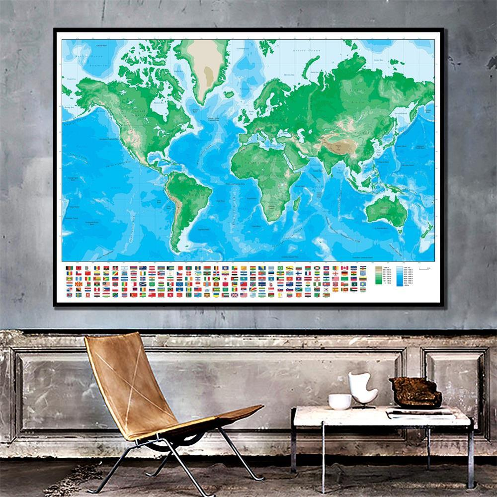 The World Map Mercator Projection Non-woven Elevation Map With National Flag 150x100cm