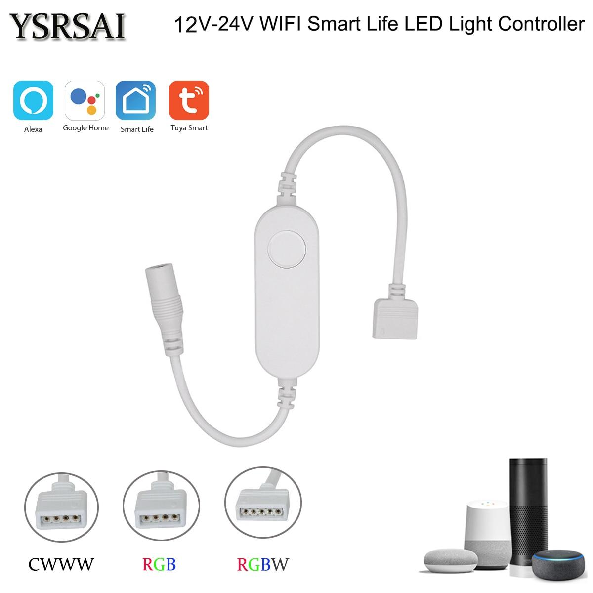 Tuya Smart Life APP 12v-24V Wifi CCT/RGB/RGBWW led Light Strip Wireless Remote Controller Smart Home work with Alexa Google Home(China)