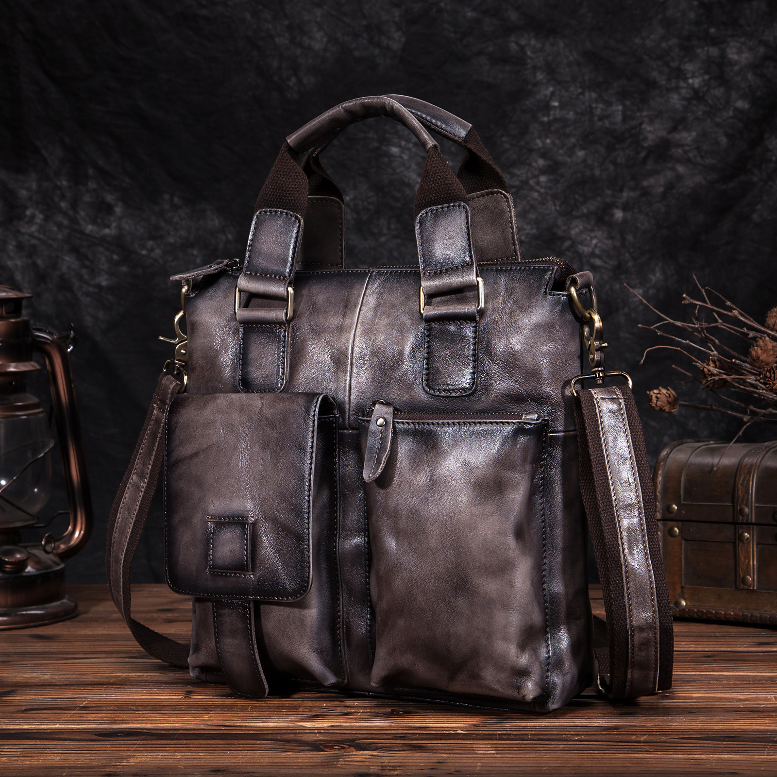 Men Quality Leather Antique Retro Business Briefcase 12