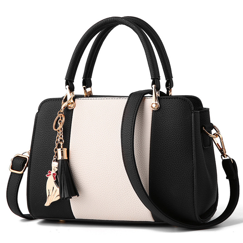Cat Pendant Women Handbags Crossbody Shoulder Ladies Leather Handbags Tassel Patchwork Fashion Winter Women Messenger Bags Bolsa