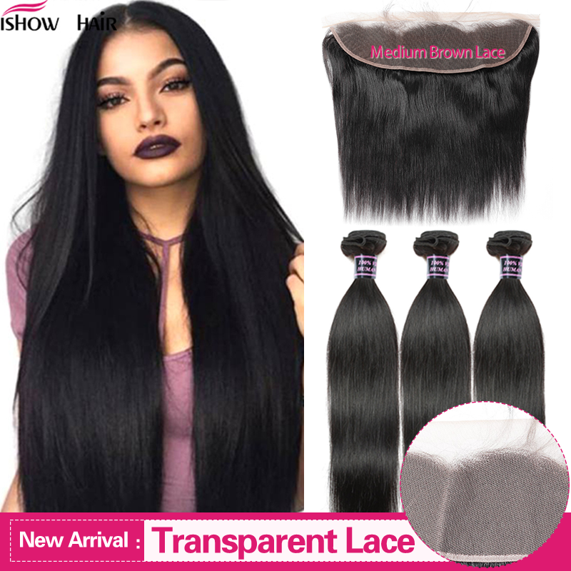 Ishow Straight Hair Bundles With Frontal Transparent Lace Frontal With Bundles Malaysian Human Hair Bundles With Frontal Closure