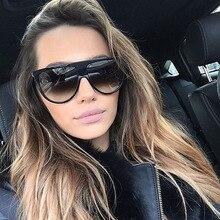Flat Top Black Sunglasses Woman Fashion Oversized Square Shades Glasses UV400