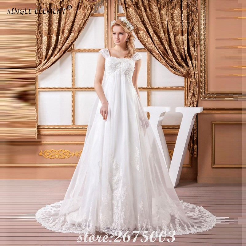 SINGLE ELEMENT Real Pregnant Dress Church Gowns Court 2018 Wedding Dress