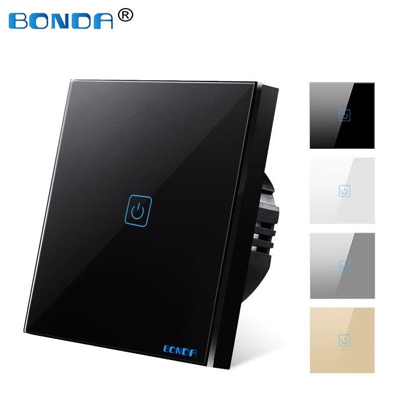 BONDA Touch Switch EU/UK standard White Crystal Glass Panel wall Switch, AC220V,1 Gang 1 Way, EU Light Wall Touch Screen Switch