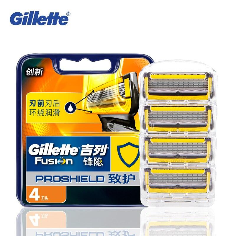 Gillette Fusion Proshield Razor Blade Manual Shaving Beard Shaver Razors Blades For Man's Face Care Safety Hair Removal 4 pcs
