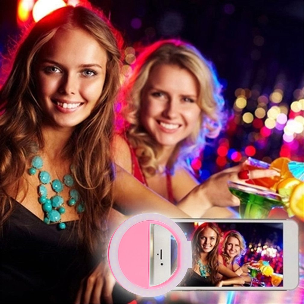 Luxury New Smart Phone LED Flash Light Up Selfie Ring Flash Enhancing Light Beauty Luminous Case For IPhone 6/6S Pink