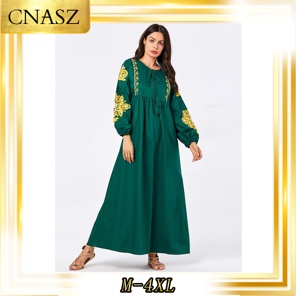 Abaya Turkish Gown Fashion Simple Comfortable  Large Size Women's Green Embroidered Long-Sleeved Muslim Casual Large Dress