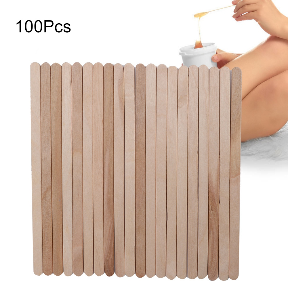 100Pcs/Bag Wooden Hair Removal Wax Applicator Stick Disposable Tongue Depressors Stick Depilatory Spatula Hair Removal Tools