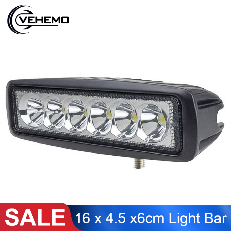 <font><b>16</b></font> x 4.5 x6cm Driving <font><b>Work</b></font> <font><b>Light</b></font> Bar 18W 12V Spotlight 4WD <font><b>LED</b></font> Beams <font><b>LED</b></font> <font><b>Light</b></font> <font><b>Work</b></font> Bar Flood Lamp Driving Universal Car image