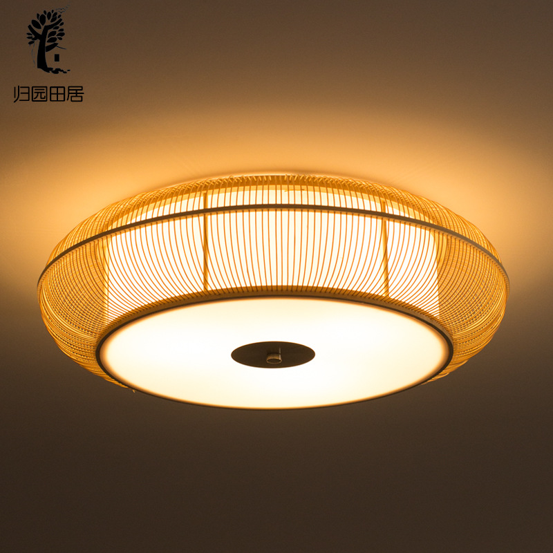 New Chinese Style Ceiling Lamp Creative Cool LED Japanese Style Living Room Restaurant Bedroom Ceiling Lamp Circle Tatami Lamp