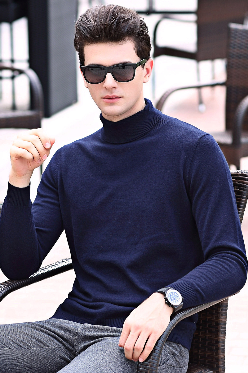 Men Spring & Autumn Fashion Cashmere Turtleneck Plain Long Sleeve Male High Collar Slim Fit  Knit Wool  Pullover