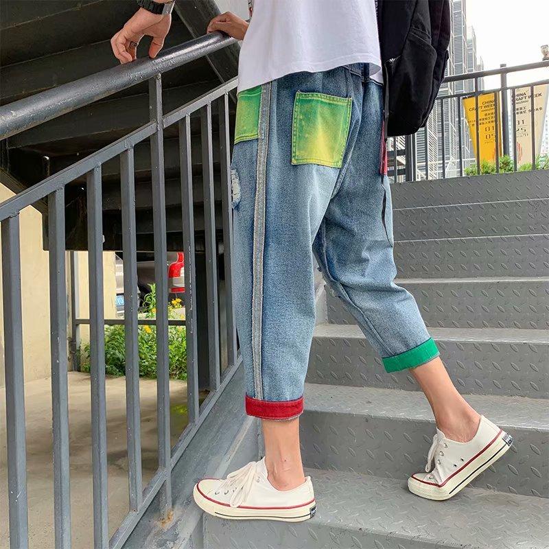 Hip Hop Jeans Men's Fashion Hit Color Hole Patch Jean Pants Men Streetwear Denim Trousers Mens Cowboy Lothes Large Size M-5XL