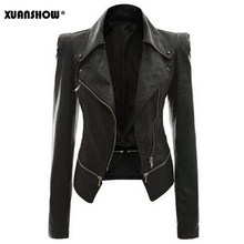 XUANSHOW 2019 Autumn Winter Leather Jacket Long Sleeve Rivets Pocket Women Motorcycle Leather Jacket Coat Zipper PU Clothes Tops(China)