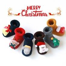 Детские рождественские носки силиконовые тапочки детские с рождественской