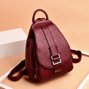 Image 5 - Fashion Casual Soft Leather Women Travel Backpack High Quality Durable Leather Backpack Zipper Straps Design Womens Backpack
