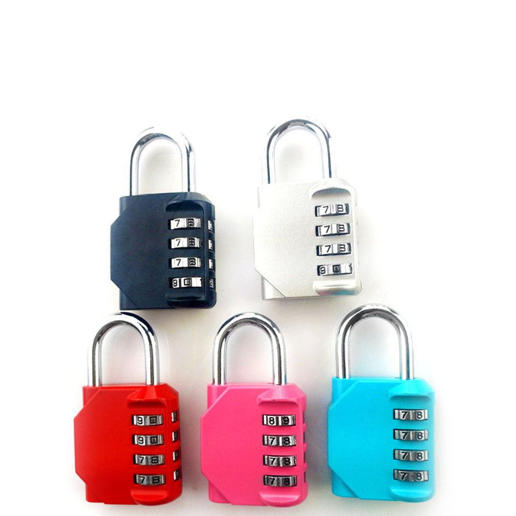 Resettable 4 Digit Number Code Combination Padlock Security Luggage Safety Lock
