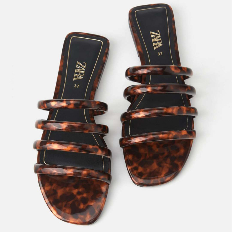 Summer 2020 ZA New Women's Slippers Transparent Tortoiseshell Tube With Decorative Flat Sandals Slipper