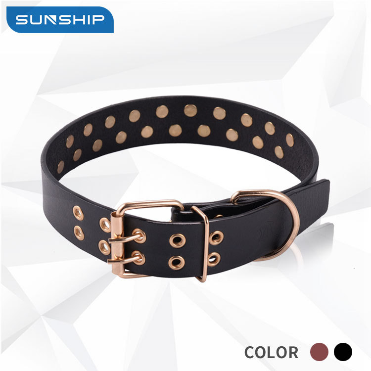 New Style Pet Rivet Neck Ring Double Row Spikes Medium Large Dog Textured Cowhide Collar