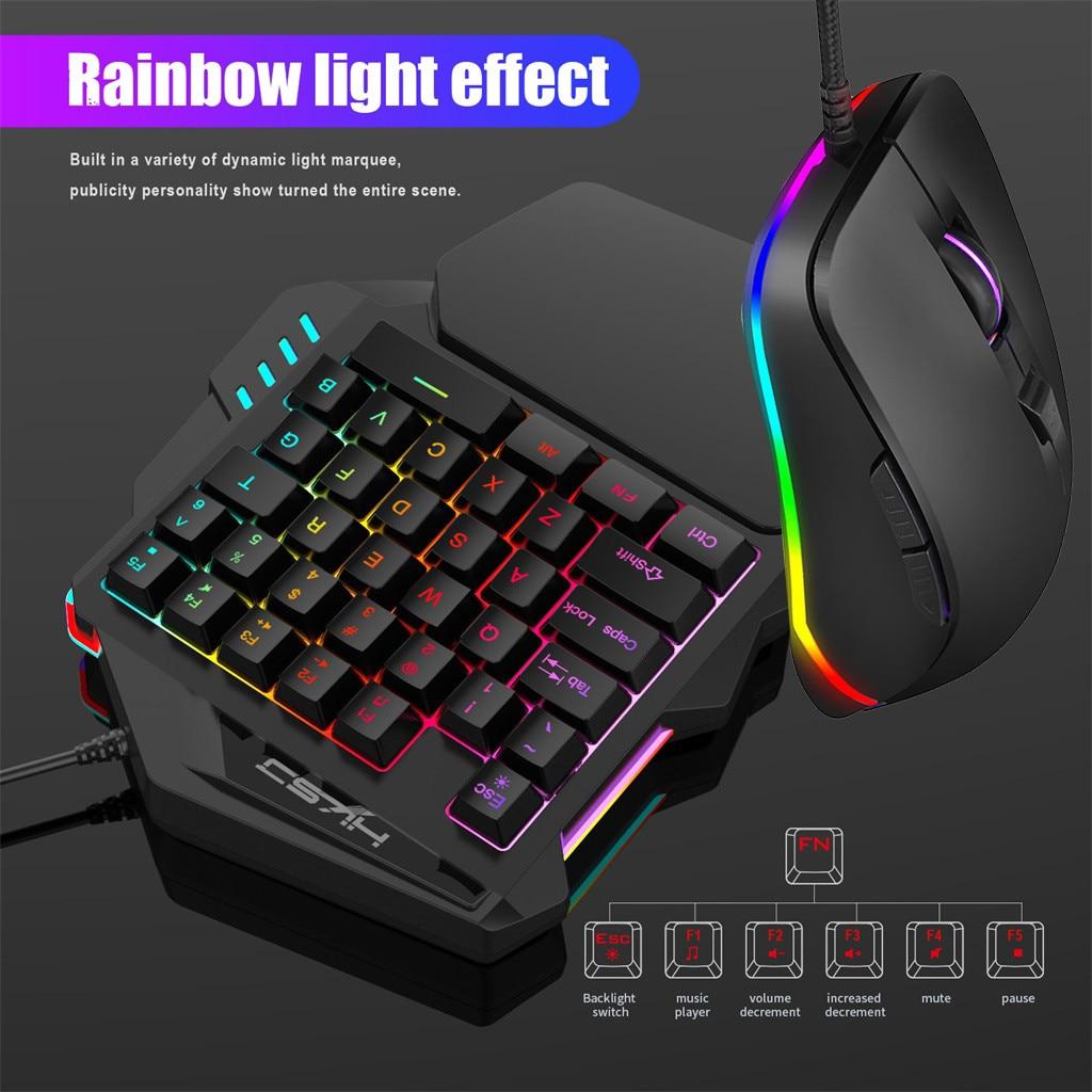 35 # One-handed gaming tastatur + maus set HXSJ V100 + S600 Tastatur Maus Set 35 Schlüssel Mini USB Verdrahtete Tastatur + Maus