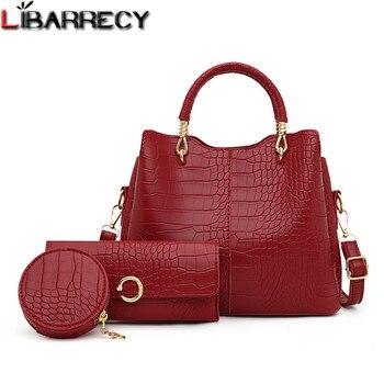 Alligator 3-piece Set Composite Bag Designer High Quality Pu Leather Women Handbag Ladies Large Capacity Shoulder Crossbody