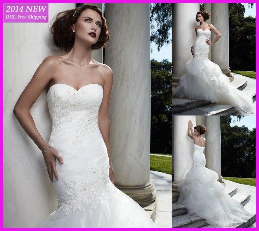Novo Elegante Sweetheart Ruched Sereia Organza Branca Vestidos De Noiva Marfim Vestido De Noiva Personalizado Wedding Dresses