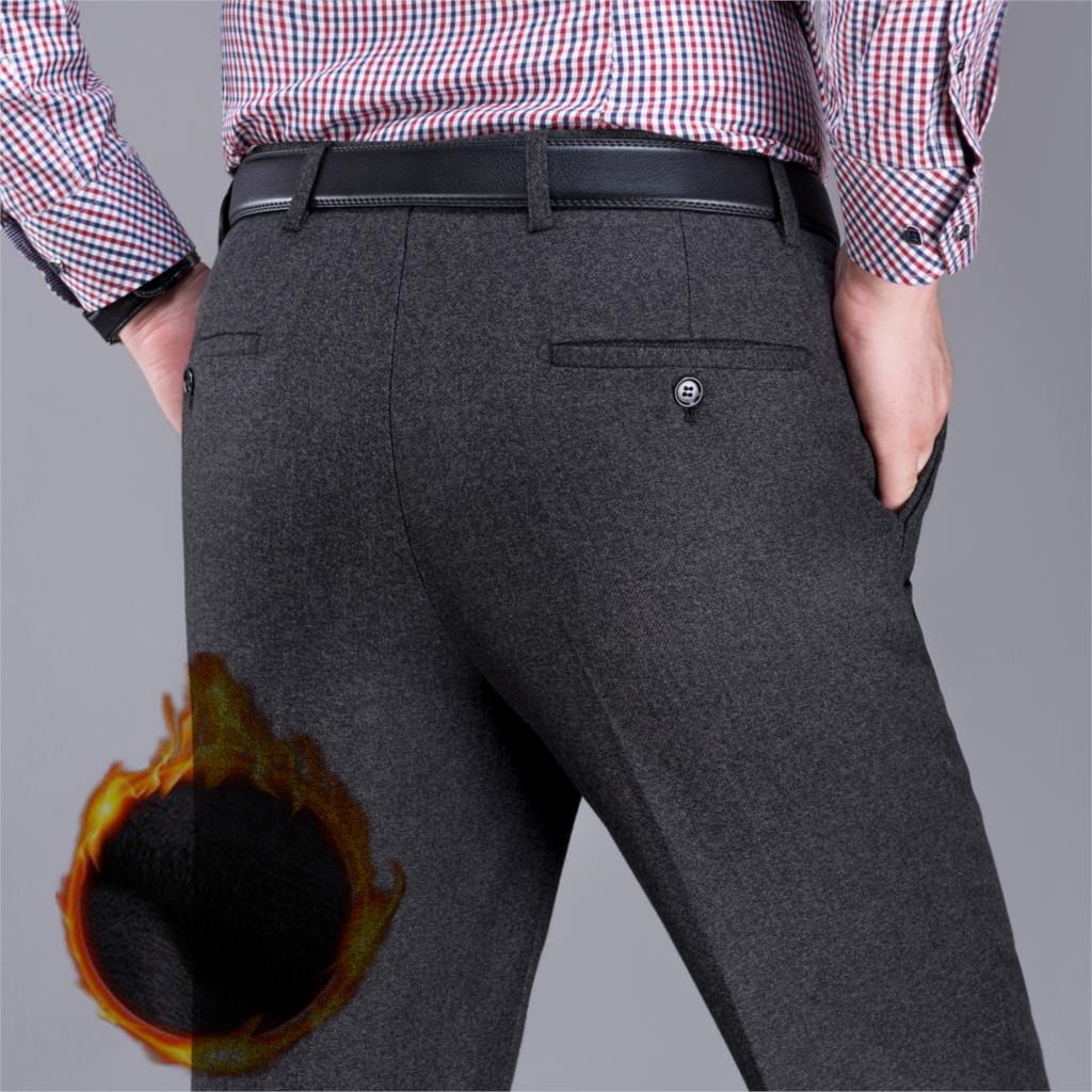 ICPANS Thick Fleece Warm Winter Men's Dress Pants Loose Straight Business Classic Office Formal Trousers Man Big Size 40 42 44