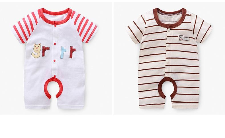Baby Boys Cotton Short Sleeve Romper Summer Thin Newborn Baby Girls Clothes Summer Creeper Pajamas | Happy Baby Mama