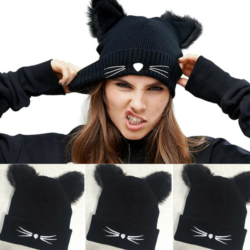 Funny Novelty Cat Ears Women Ladies Knitted Hat Acrylic Warm Winter Beanie Crochet Fur Ski Cap Cosplay Female Winter Hat