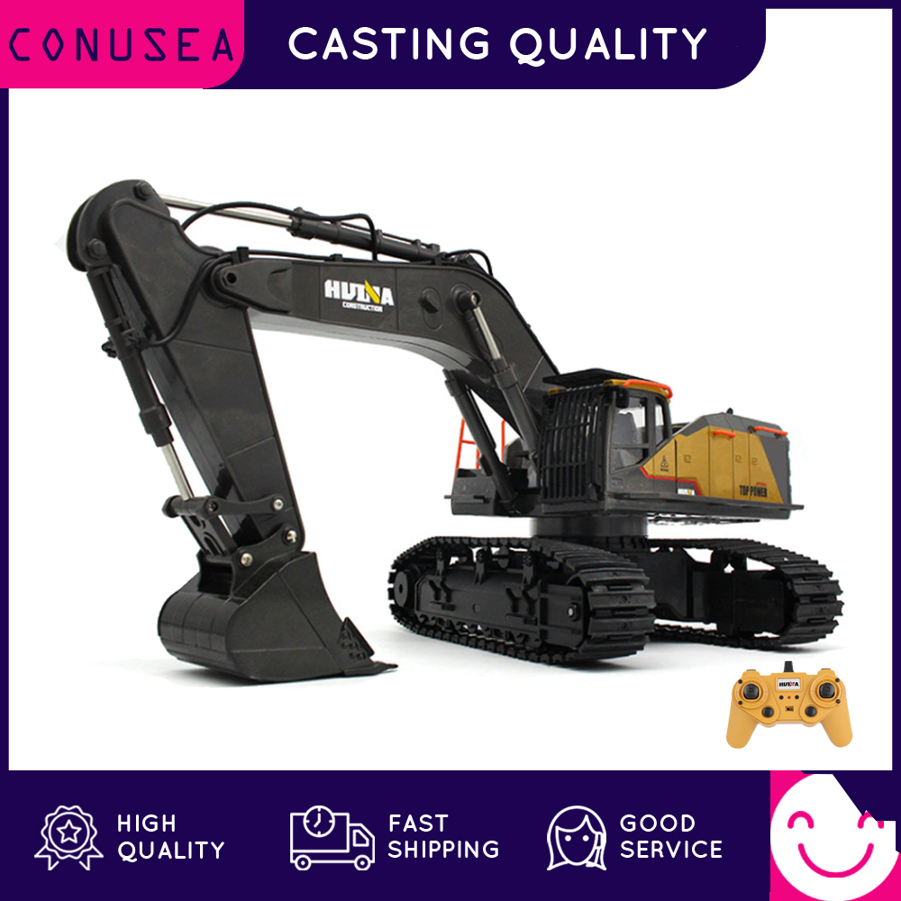 HUINA 1/14 RC Truck Tractor Caterpillar Alloy Engineering Car 2.4GHz Renmote Controll Car 22 Channel RC Excavator Toys for Boys