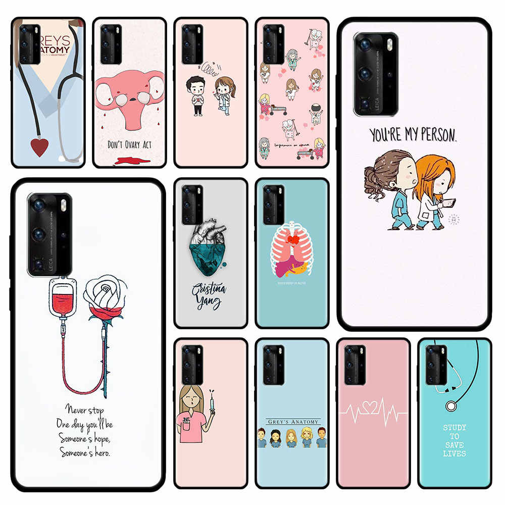 Greys Grey's Anatomy Case for Huawei P20 P40 Lite E P30 Pro P10 P Smart Z Plus 2019 Black Silicone Phone Shell Cover