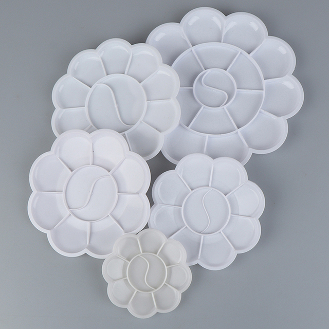 4 Size Palette Art Alternatives Paint Plastic Palette Supply White Watercolor Palette Pigment Tray Painting Supplies