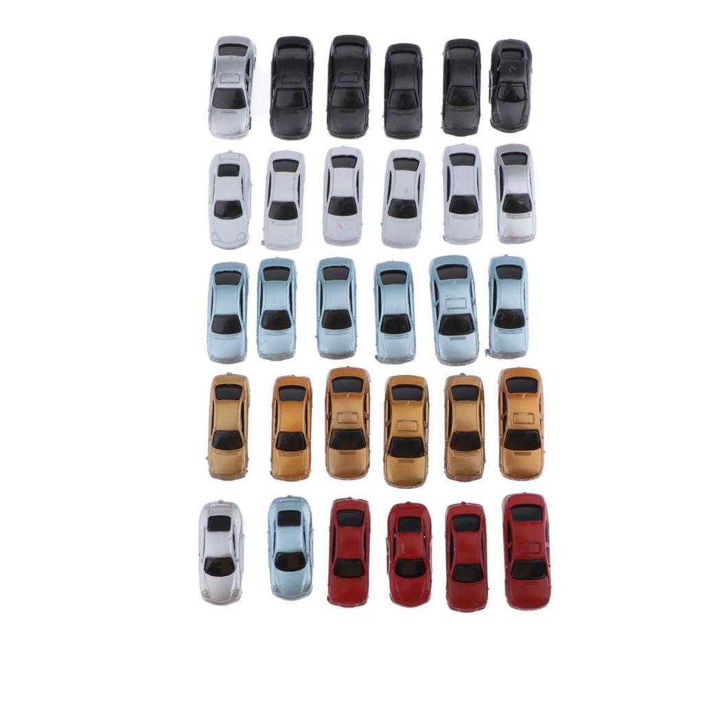 1:100 Scale Gauge HO OO TT Painted Plastic Model Car For Building Train Layout, Pack Of 30