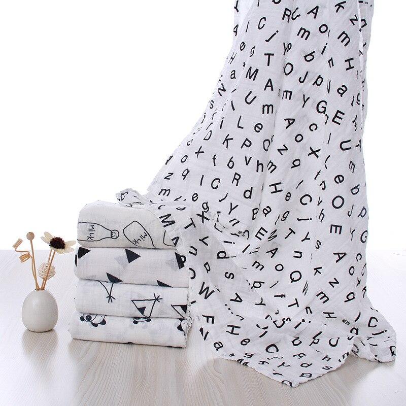 Muslin Diaper Cotton Baby Blanket Cartoon Newborn Blankets Bath Gauze Infant Wrap Sleepsack Stroller Cover Play Mat