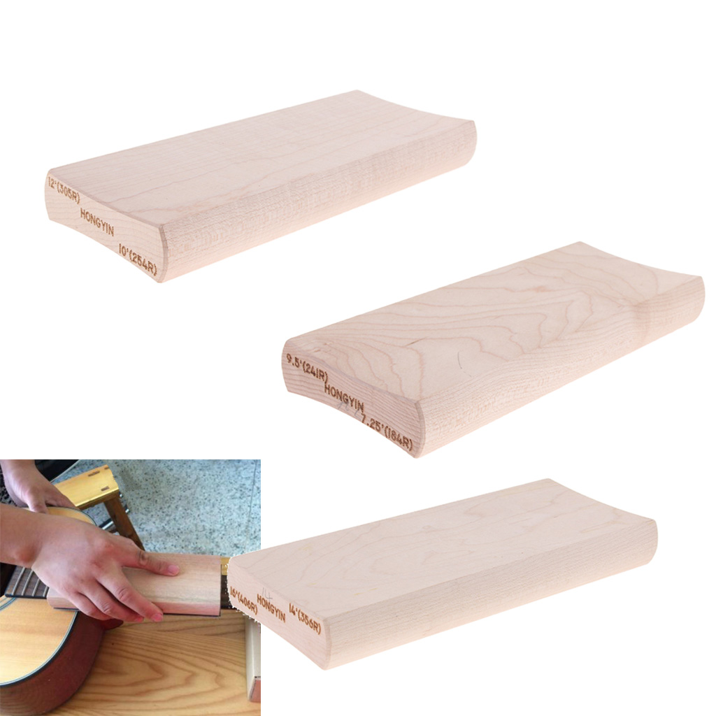 3 X Wood Fingerboard Fretboard Radius Sanding Block Luthier Tool For Guitar