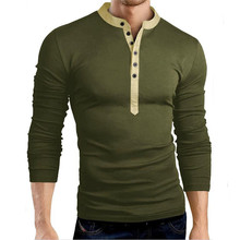 Long-sleeved T-shirt autumn new mens fake two-piece V-neck casual long-sleeved cotton multi-button t-shirt