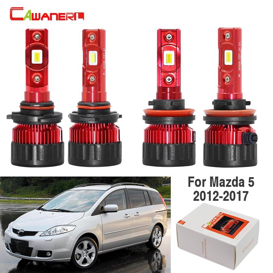 Cawanerl 4 pièces voiture phare LED ampoule haute basse faisceau 60W 9005 H11 blanc 9000LM 12V haute luminosité pour Mazda 5 2012-2017