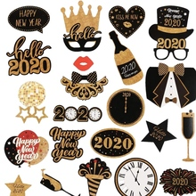 2020 Happy New Year's Eve Party Photo Booth Props Backdrop Foil Curtains for Birthday, Decor, Wedding