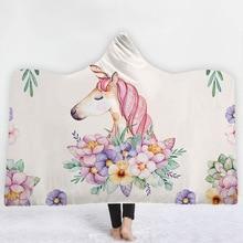 Unicorn Hooded Blanket For Adults Children Sherpa Fleece Bed Microfiber Wearable Throw Home Travel Sofa