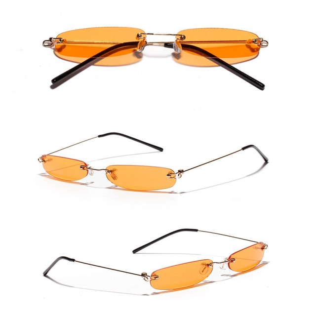 New Arrival Fashion Style Small Lenses Frameless Transparent Colored Decorative Sunglasses Eyewear